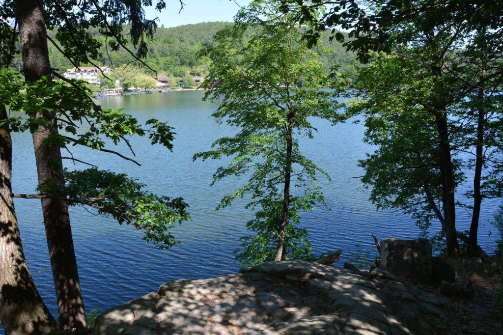 Wald und Wasser wechseln sich ab am Montiggler See